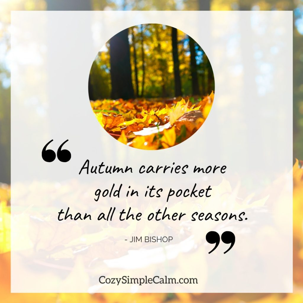 """Autumn carries more gold in its pocket than all the other seasons."""" – Jim Bishop"""
