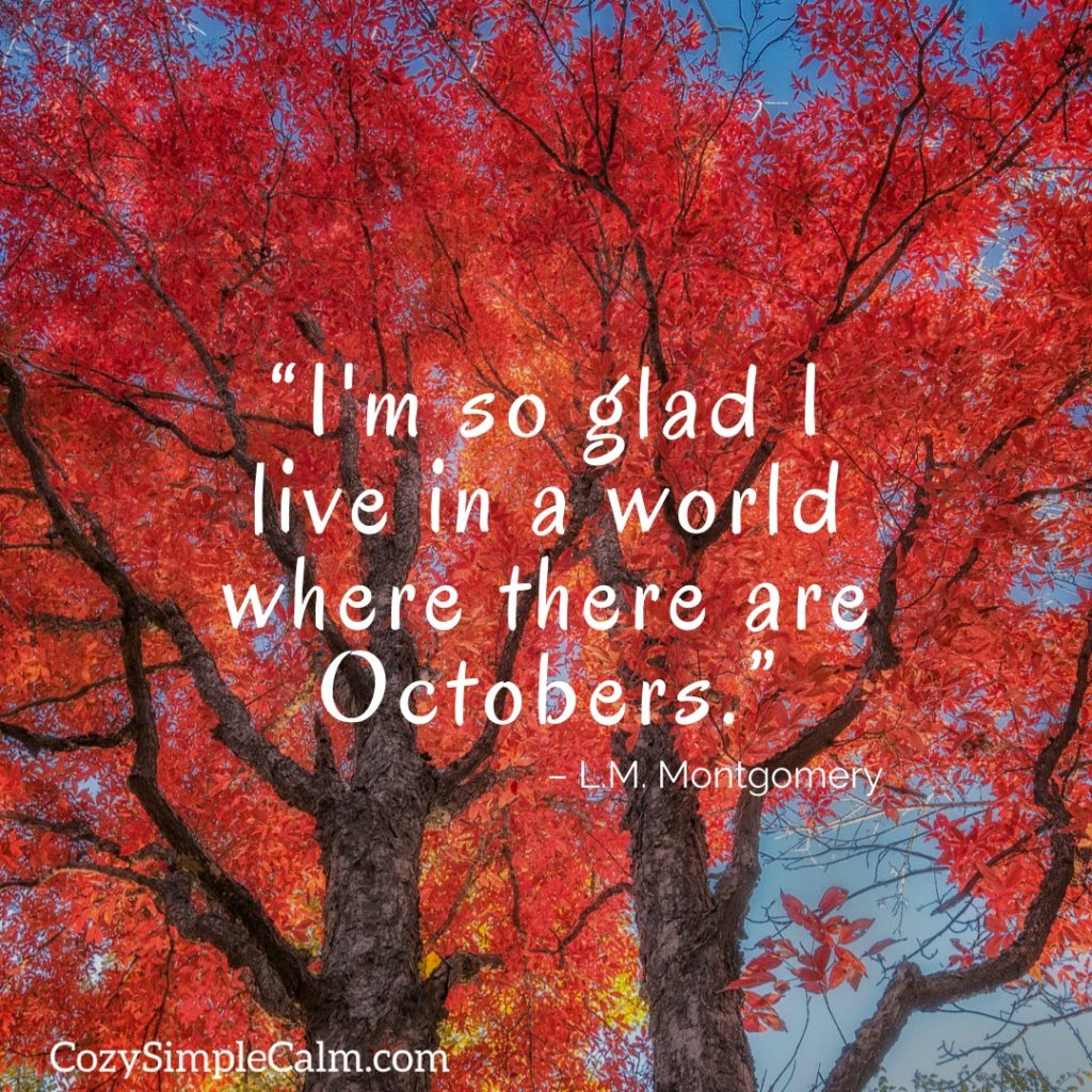 """""""I'm so glad I live in a world where there are Octobers"""" – L.M. Montgomery"""