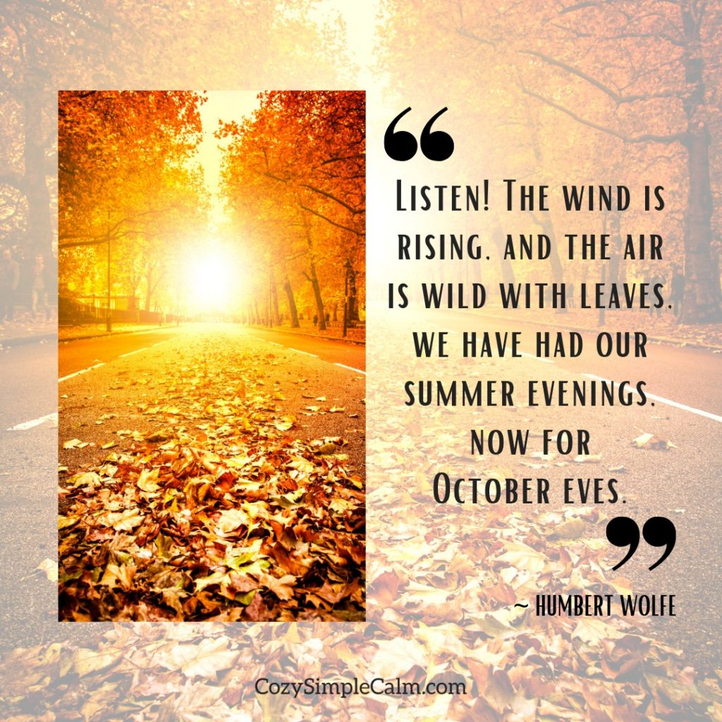"""""""Listen! The wind is rising, and the air is wild with leaves, we have had our summer evenings, now for October eves."""" – Humbert Wolfe"""